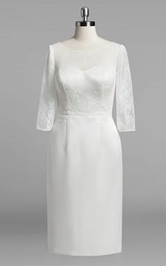 Scoop Neck 3 4 Sleeve Sheath Satin Wedding Dress With Lace Bodice