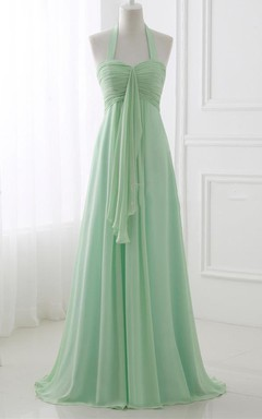 Halter Chiffon Dress With Pleats