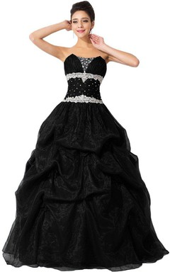 Strapless Ballgown With Beadings and Ruffles