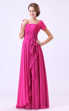 Chiffon Square-Neck-Sleeve Dress With Laced Top And Draping