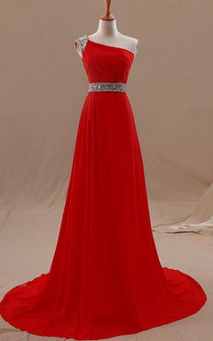 One-shoulder A-line Chiffon Dress With Beaded Detailing