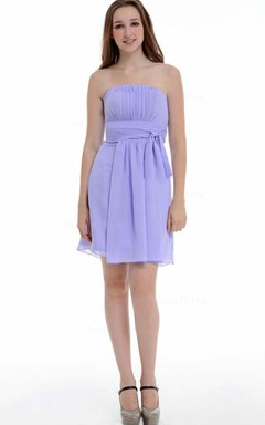A-line Short Strapped Chiffon Dress With Ruffles