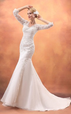 3 4 Sleeved Trumpet Gown With Lace Illusion Bodice