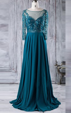 Floor-length Long Sleeve Chiffon&Tulle&Lace Dress With Beading&Sequins&Illusion