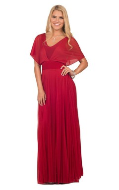 Short-sleeved Long Chiffon Gown With Empire Waist