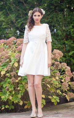 Short Long Sleeve Court Train Lace Satin Weddig Dress