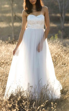 A-line Floor-length Strapped Sweetheart Tulle&Lace Dress