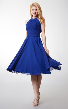 A-line High Neck Tea Length Bridesmaid Dress With Keyhole Back
