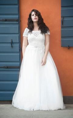 A-Line Long Scoop Neck Short Sleeve Tulle Waist Jewellery Dress