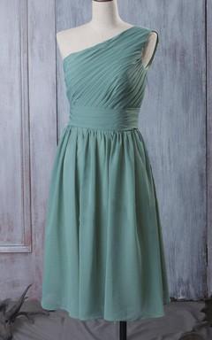 A-line Short Tea-length Long One-shoulder Chiffon Dress