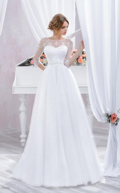 3-4 Sleeve Tulle Lace Dress With Beading