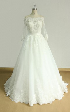 A-Line Off-The-Shoulder Lace Satin Weddig Dress