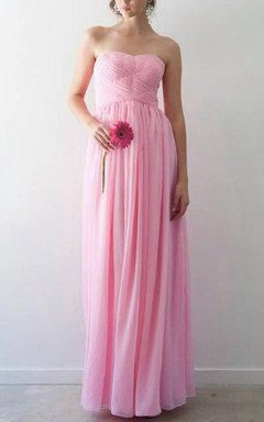 Chiffon Empire Strapless Dress With Pleats