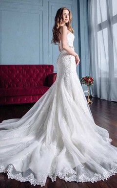 Mermaid Trumpet Satin Lace Wedding Dress