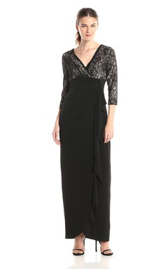 3/4 Sleeved V-neck Chiffon Dress With Lace Bodice