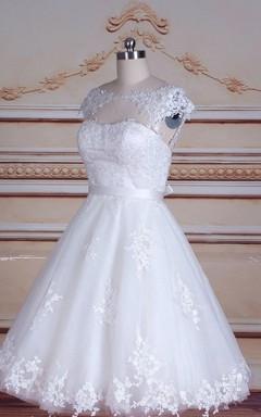 Short Tea-Length Cap Sleeve Tulle Lace Satin Dress With Keyhole Back