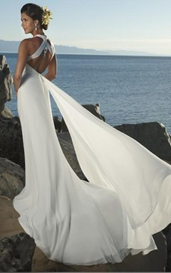 Sheath/Column Empire V-neck Chiffon Beach Wedding Dress