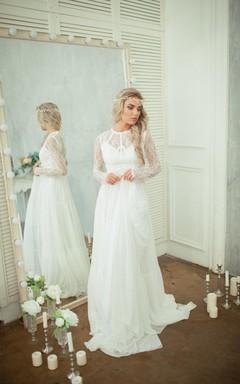 Long Sleeve Lace Bodice Chiffon Skirt A-Line Wedding Dress