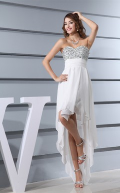 High-Low Sweetheart Beaded Bodice Dress with Cinched Waistband and Zipper Back