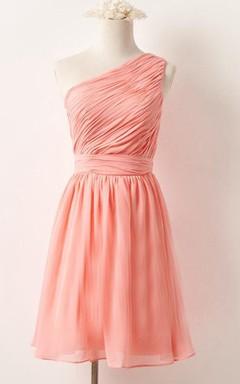 Mini One-shoulder Chiffon Dress