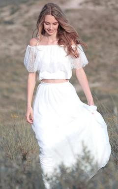 Off-The-Shoulder Chiffon Lace Wedding Dress