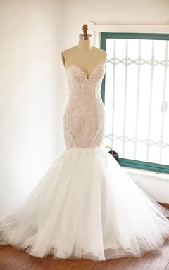 Mermaid Sweetheart Tulle Lace Satin Dress With Beading