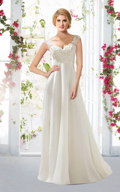 Country Style A-line Chiffon Dress With Lace Bodice