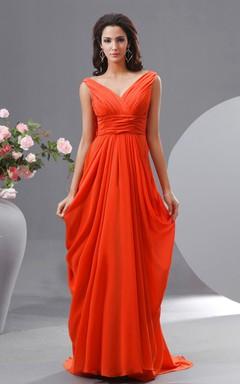 Chiffon Empire Maxi V-Neck Dress With Draped V Back