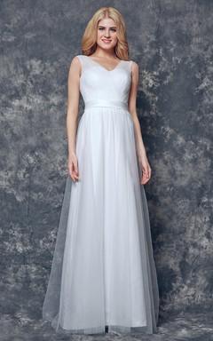 V-neck and V-Back Long Ruched Tulle Dress With Sash