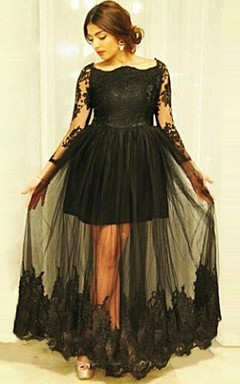 Scoop Tulle Lace Dress with Illusion Style