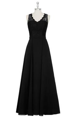 Chiffon A-Line Sleeveless Dress With V-Neck and Lace Bodice