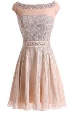 A-Line Princess Bateau Sleeveless Beading Short Mini Chiffon Dresses