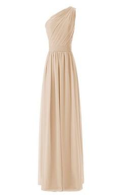 One-shoulder Long Chiffon Dress With Pleats