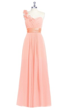 Sweetheart Ruched and Pleated Dress With One Floral Shoulder and Satin Waistband