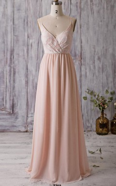 Floor-length Spaghetti Strapped V-neck Chiffon&Lace Dress With Flower&Low-V Back