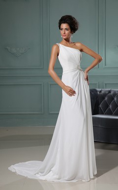 Shining Asymmetrical One-Shoulder Column Gown With Brush Train