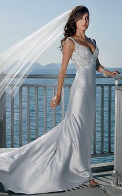 Sheath Column Spaghetti Straps Sleeveless Court Train Elastic Woven Satin Wedding Dress