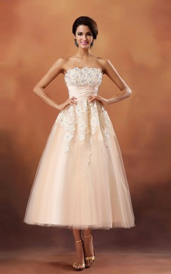 Lovely Cinched-Waisbtea-Length Dress With Lace Appliques