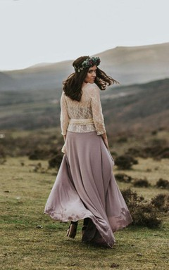 Long Sleeve Lace&Jersey&Satin Dress