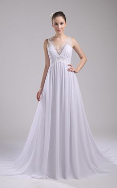 Fairy V-Neck Sleeveless Chiffon Dress With Beading and Pleats