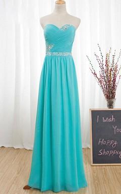 Floor-length Strapped Sweetheart Chiffon Dress