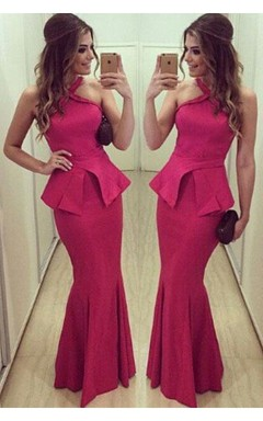Sexy Halter Mermaid Fuchsia Prom Dress 2016 Sleeveless Floor-length