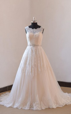 Ivory a Line Champange Blush Lining Lace Wedding Dress With Illusion Neckline