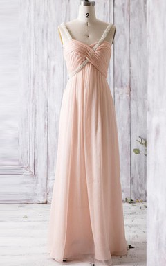 Empire Floor-length Sweetheart Empire Backless Chiffon Dress With Beading