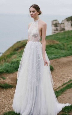 Tulle High Neck Sleeveless A-Line Dress With Appliques