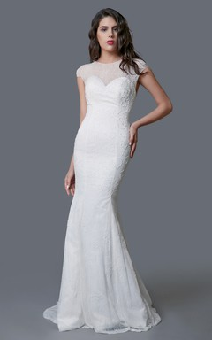 Stunning Long Lace Sheath Dress With Illusion Back
