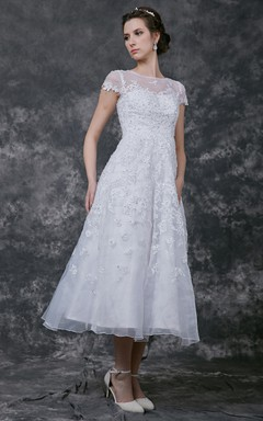 Sweet Cap Sleeve Tea-Length Gown With Illusion Neckline