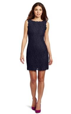 Sleeveless Short Lace Dress With Bateau Neckline