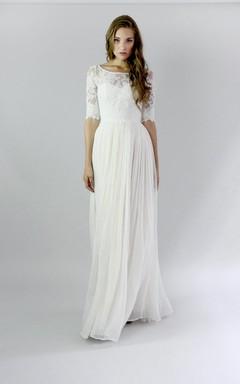 Jewel Button Back Sheath Chiffon Wedding Dress With Lace And Pleats