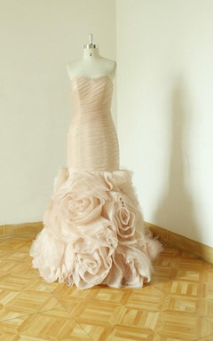 Sweetheart Backless Sheath Chiffon Wedding Dress With Flower And Ruching
